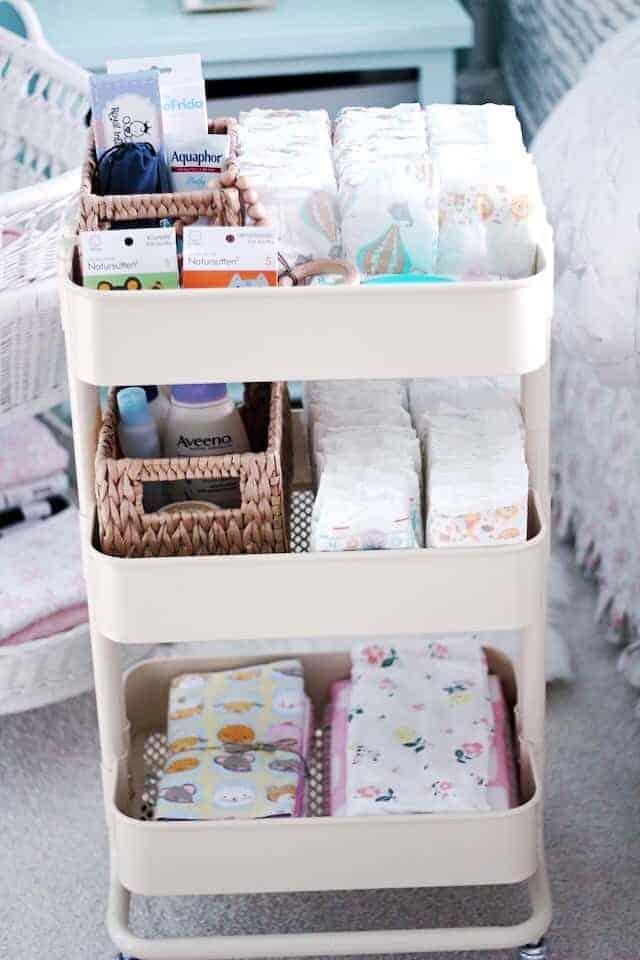 IKEA Nursery Hacks - diaper cart