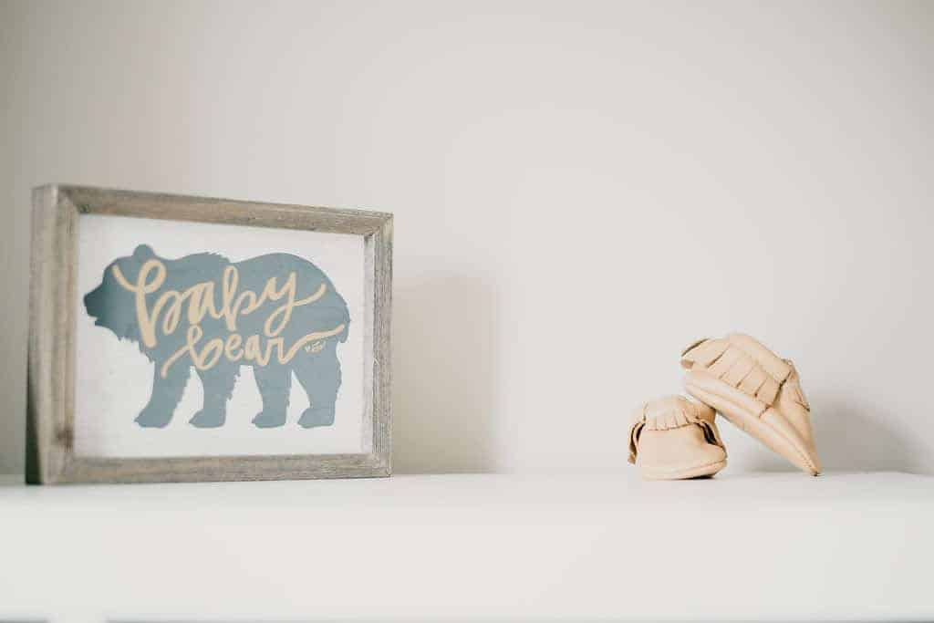 baby nursery - shoes and baby bear