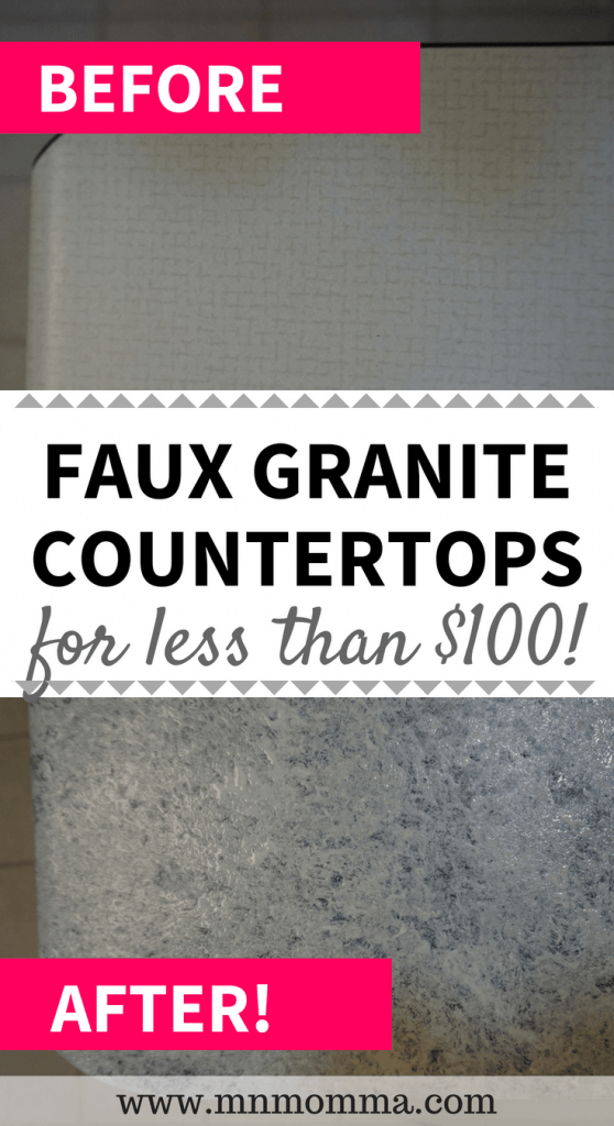faux granite countertops for less than $100! Easy to follow steps to updating your kitchen countertops with Giani Countertop paint!