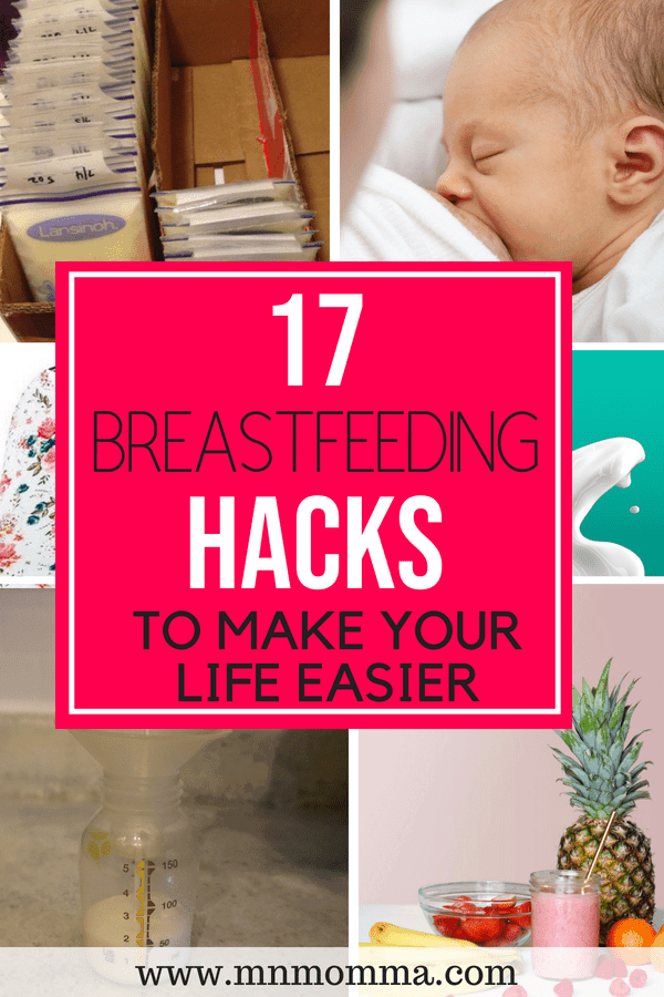 17 best breastfeeding and pumping tips to make breastfeeding and pumping easier. Stop stressing about breastfeeding and find these great tips and hacks! Breastfeeding hacks for new moms!