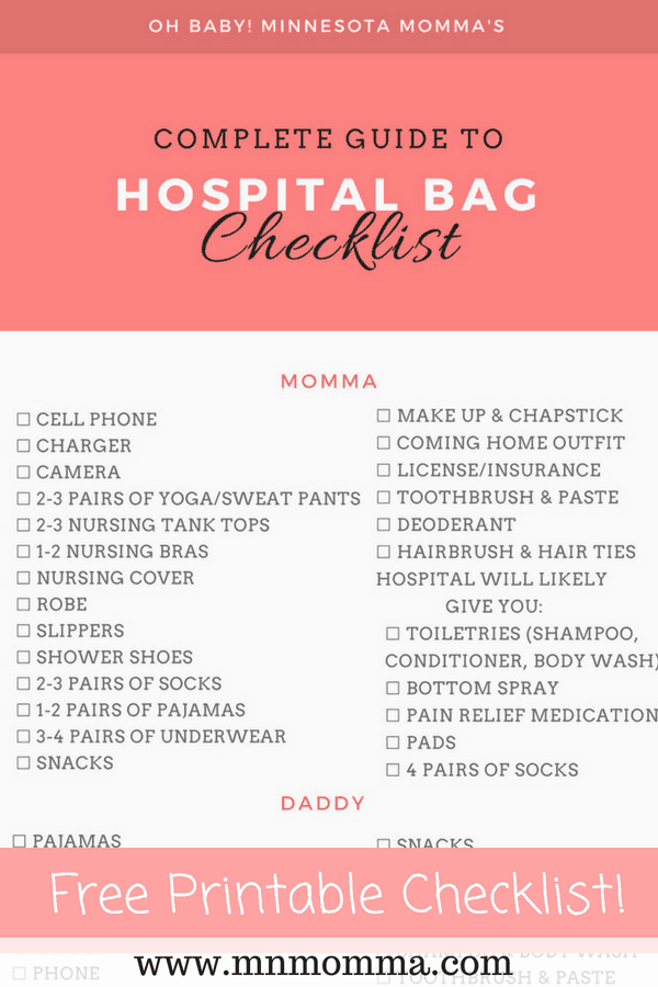 Hospital Bag Checklist for Mom, Baby, and Dad!
