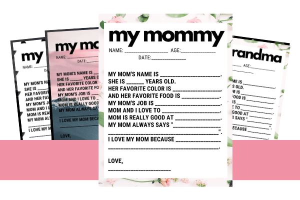 mother's day interview printable - for kids